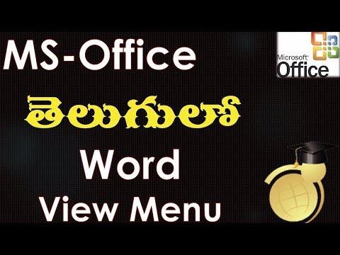 View Menu Options in MS Word (MS Office 2003 in Telugu)