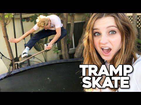 PRO SKATER VS GIRLFRIEND!!   Trampoline Skateboarding