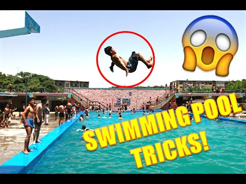 Swimming pool tricks youtube for Swimming pool diving board tricks
