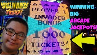 Space Invaders Frenzy ARCADE GAME JACKPOT! Winning So Many TICKETS at the ARCADE! Jdevy