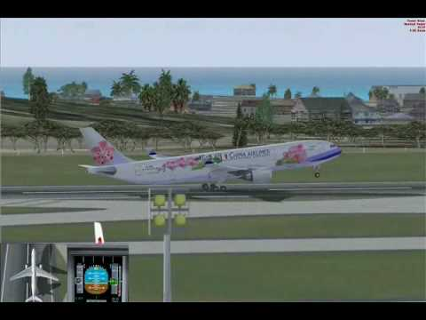 FSX China Airlines A330-300 Taipei to Hong Kong