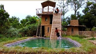 Build Three - Story Villa House And Swimming Pool With Water Slide  By Ancient Skills (full video)