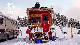 SNOWBOARD PRO Converts FIRETRUCK into TINY HOME to Live at Mt Bachelor