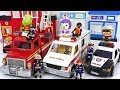 Playmobil Police Car, Ambulance, Fire Truck Move! Let's Arrest The Villain! #PinkyPopTOY
