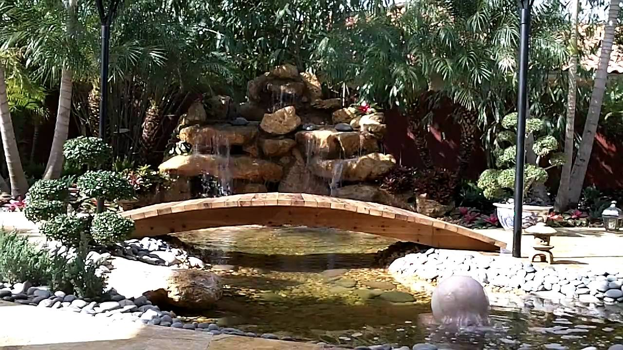 Zen garden waterfall private residence miami fl youtube for Zen garden waterfall