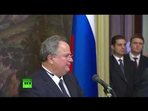 Sergueï Lavrov et de Nikos Kotzias en conférence de presse à Moscou