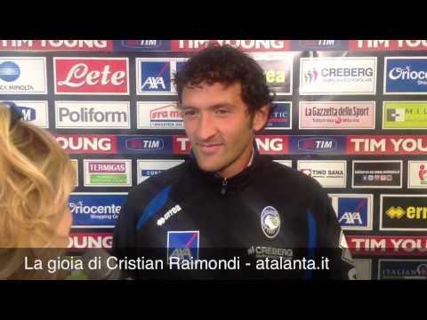 Match winner della partita contro il Palermo è il bergamasco Cristian Raimondi che dopo il gol ai rosanero non riesce a trattenere la grande gioia di essere andato a segno con la maglia della...