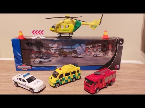 TOP 4 EMERGENCY VEHICLE TOYS POLICE CAR, AIR RESCUE HELICOPTER, AMBULANCE, FIRE ENGINE