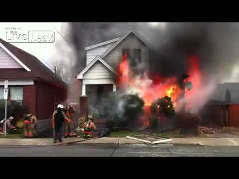 House fire after explosion in Hamilton, ON, Canada.