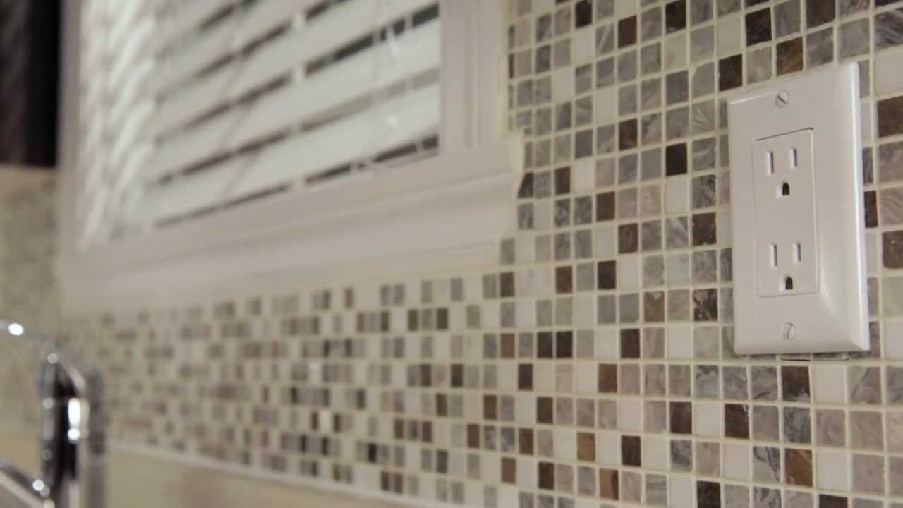 Rona how to install mosaic tiles youtube How to put tile on wall in the kitchen