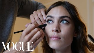 Alexa Chung Gets Ready for the Miu Miu Show With Tea and a Pair of Leather Hot Pants   Vogue