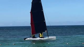 Sailing at the beach in Jamaica