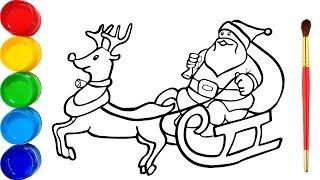 Vẽ và tô màu Ông già Noel | Bé Học Tô Màu | Glitter Rudolph and Santa Coloring Pages For Kids