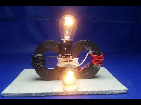 Free Energy Generator  Magnet with Light Bulb 100% , at home 2018 thumbnail