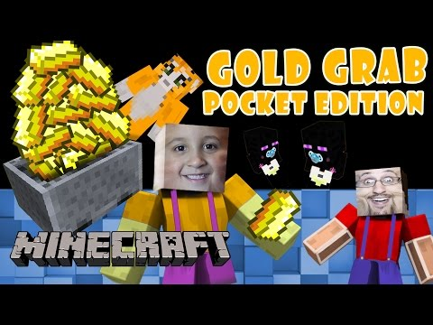 Minecraft PE: Dad vs. Son GOLD GRAB Baby Enderman Found Multiplayer Face Cam iOS Server