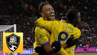 Pierre-Emerick Aubameyang scores Arsenal's third goal v. West Ham | Premier League | NBC Sports