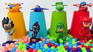 Learn Colors - Pj Masks and Super Wings Surprise Toys, Cups Beads Ball Toy