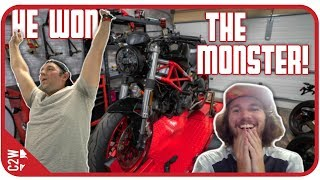 I GAVE HIM A DUCATI....Giveaway Reactions! [Wrecked Bike Rebuild-Ep. 18-Ducati Monster 1100]