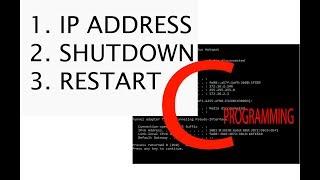 how to get ip address shutdown restart by using c programming