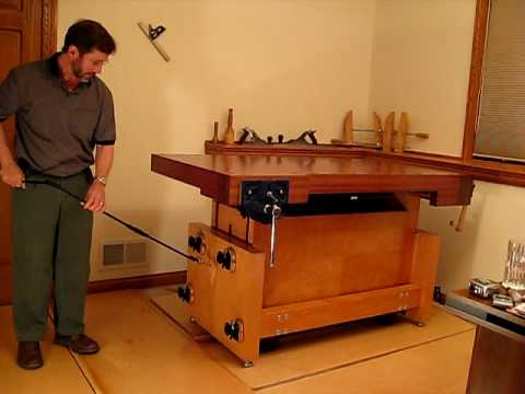 Mobile Base Built Into Adjustable Height Workbench Youtube