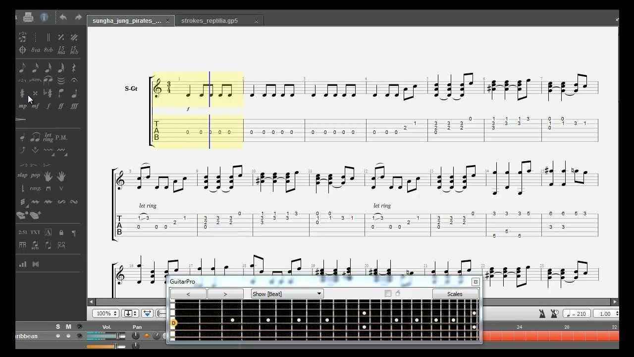 Sungha Jungu0026#39;s Pirates of the Caribbean theme tab HD (Guitar Pro 6 RSE) - YouTube