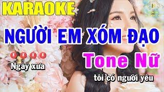 Karaoke Người Em Xóm Đạo Tone Nữ Nhạc Sống | Trọng Hiếu