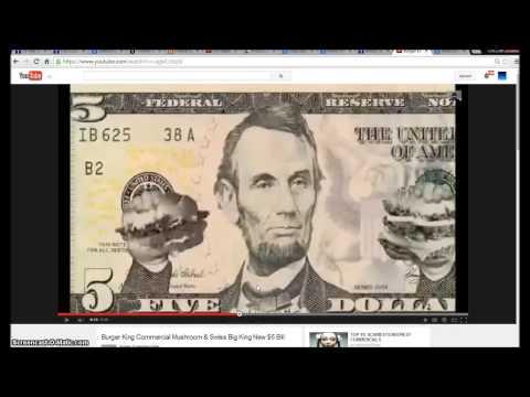 Burger King 5 dollar bill Commercial. Illuminati Freemason Symbolism.