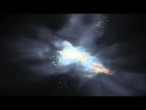 A simulated dwarf galaxy 800 million years after the big bang