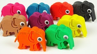 Learn Colors and Number Play Doh Elephant Molding Clay Animal Mold Surprise Toys for Kids