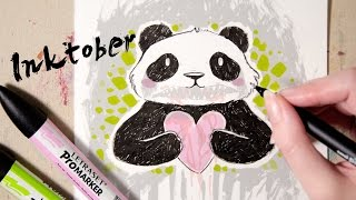 Speed Drawing A (Not So) Cute Panda! - INKTOBER