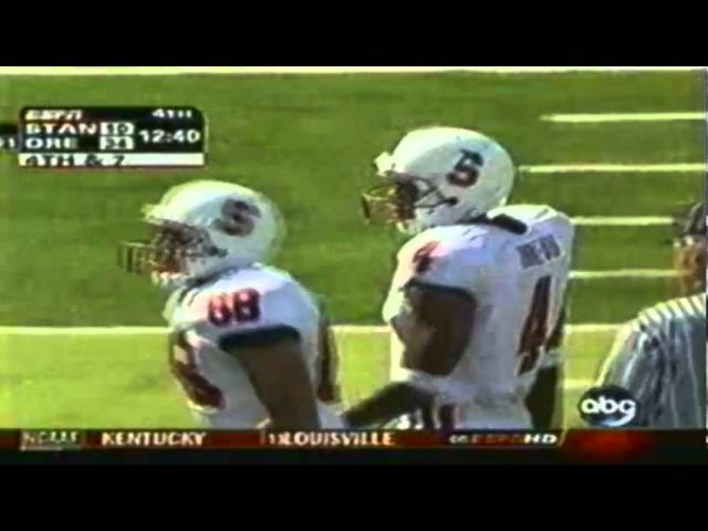 Huge hit by Oregon safety JD Nelson on Stanford receiver 9-02-06