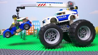 LEGO Cars experemental Police car and tow truck, vehicles Video for kids