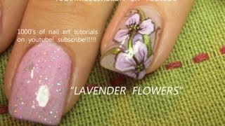 2 Nail Art Tutorials | Easy Nail Art For Beginners | Lavender Iris Flower Nails
