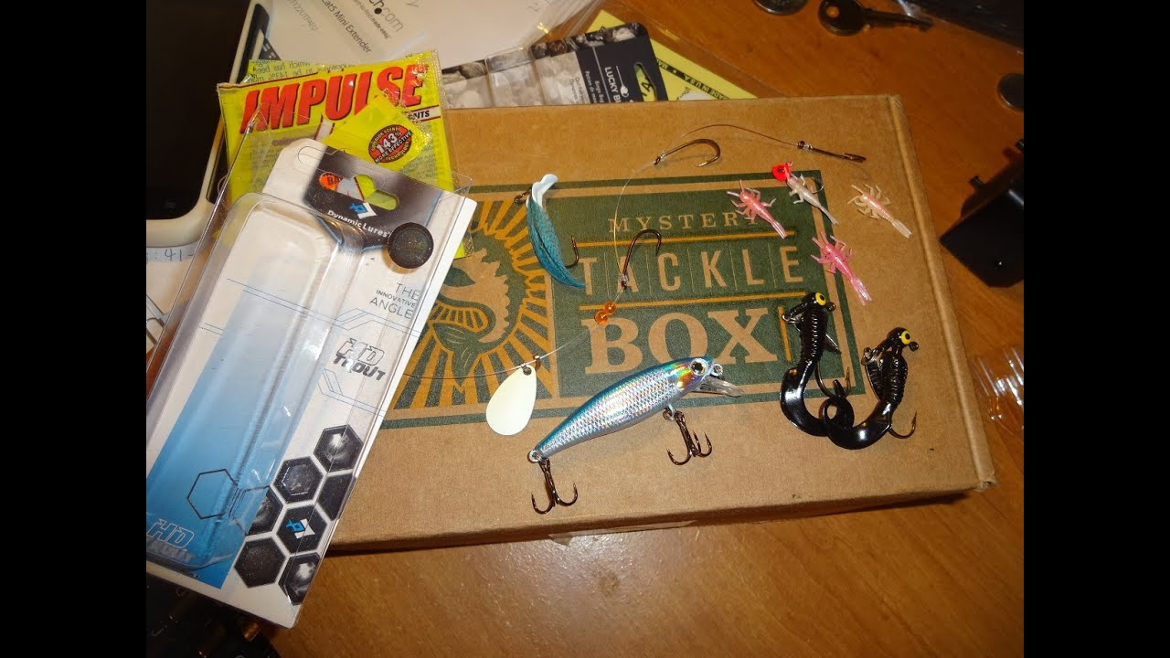 Mystery tackle box trout unboxing february 2016 frankford for Fishing mystery box