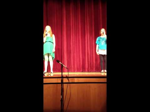 "Sharon Middle School - Grace and Katelyn singing ""Let It Go"" from Frozen"