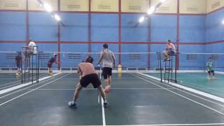 Badminton match by amateurs #3. Pandhu badminton hall - Ciangsana.  Ben/Har vs Widi/Edi