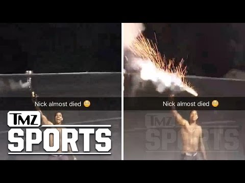 Nick Young -- Firework Explodes In Hand ... Nearly JPPs Himself