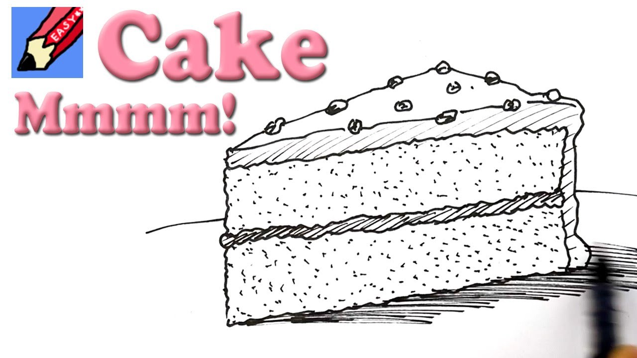 How To Draw Cake Images : How to draw a Slice of Cake Real Easy - YouTube