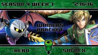 S4@GU 2-16 (Winner's Bracket): Hero (Meta Knight) vs Sin HeX (Link/Ryu)