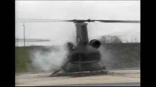 Ground Resonance Chinook CH-47 Helicopter Test and Self Destructs with Rear View of Rotor Breaking