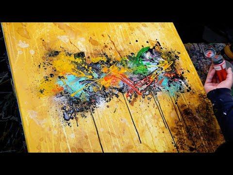 Abstract Painting Demo Acrylics using brush, knife, water - Inula - John Beckley
