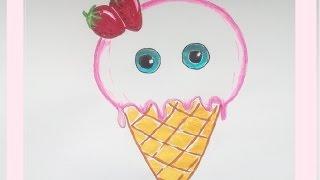 Kawaii Bilder Tutorial: Wie zeichnet man ein Eis. Malen lernen für Anfänger und Kinder