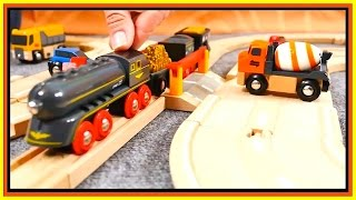 Toys Demo - BRIO Cars & Trains - BARRIER RULES! Toy Railway Trains & Trucks Videos for Kids