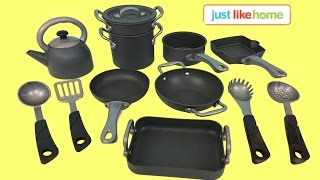 Just Like Home Nonstick Cookware Set Pretend Play | Kids Station