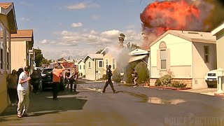 Police Dashcam Shows Mobile Home Explosion in Cypress, California