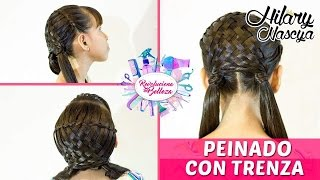 Peinado Para Niña Facil: Esterillado Con Trenza / Girl Hairstyle For Easy: matting With Braids