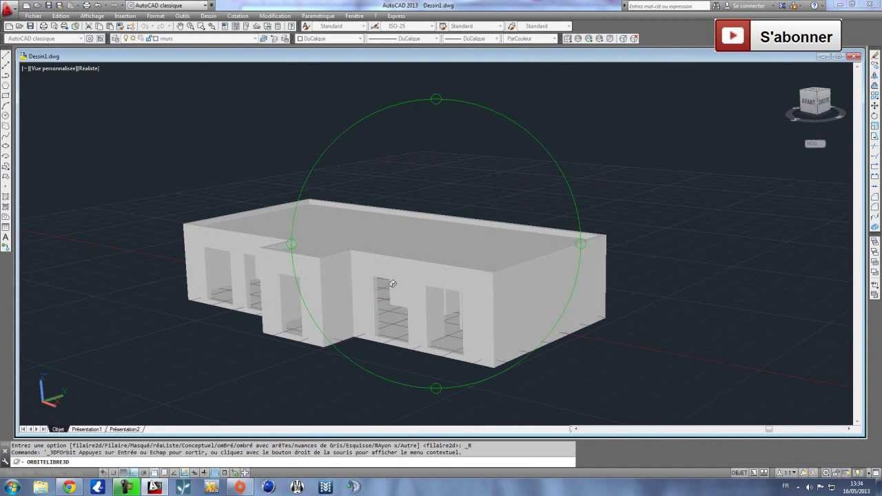 tutoriel i apprendre la 3d sur autocad en moins de 25 minutes youtube. Black Bedroom Furniture Sets. Home Design Ideas