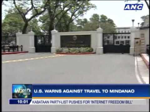 US warns against travel to Mindanao