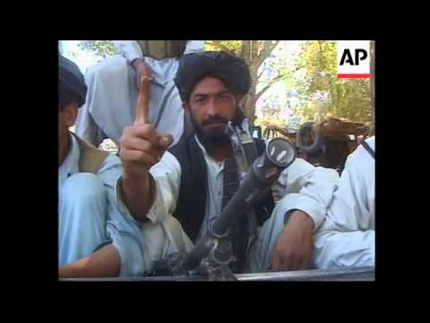 Taliban fighters in Jalalabad during US air raids.