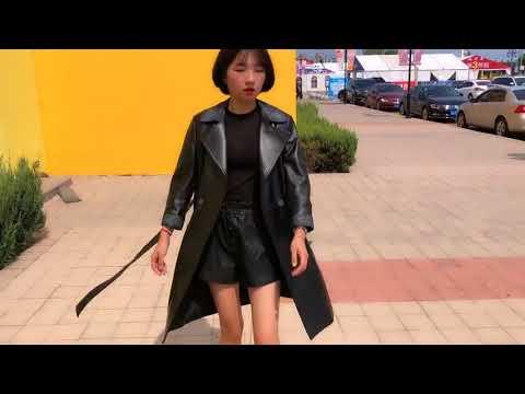 Ladies black long coat leather coat
